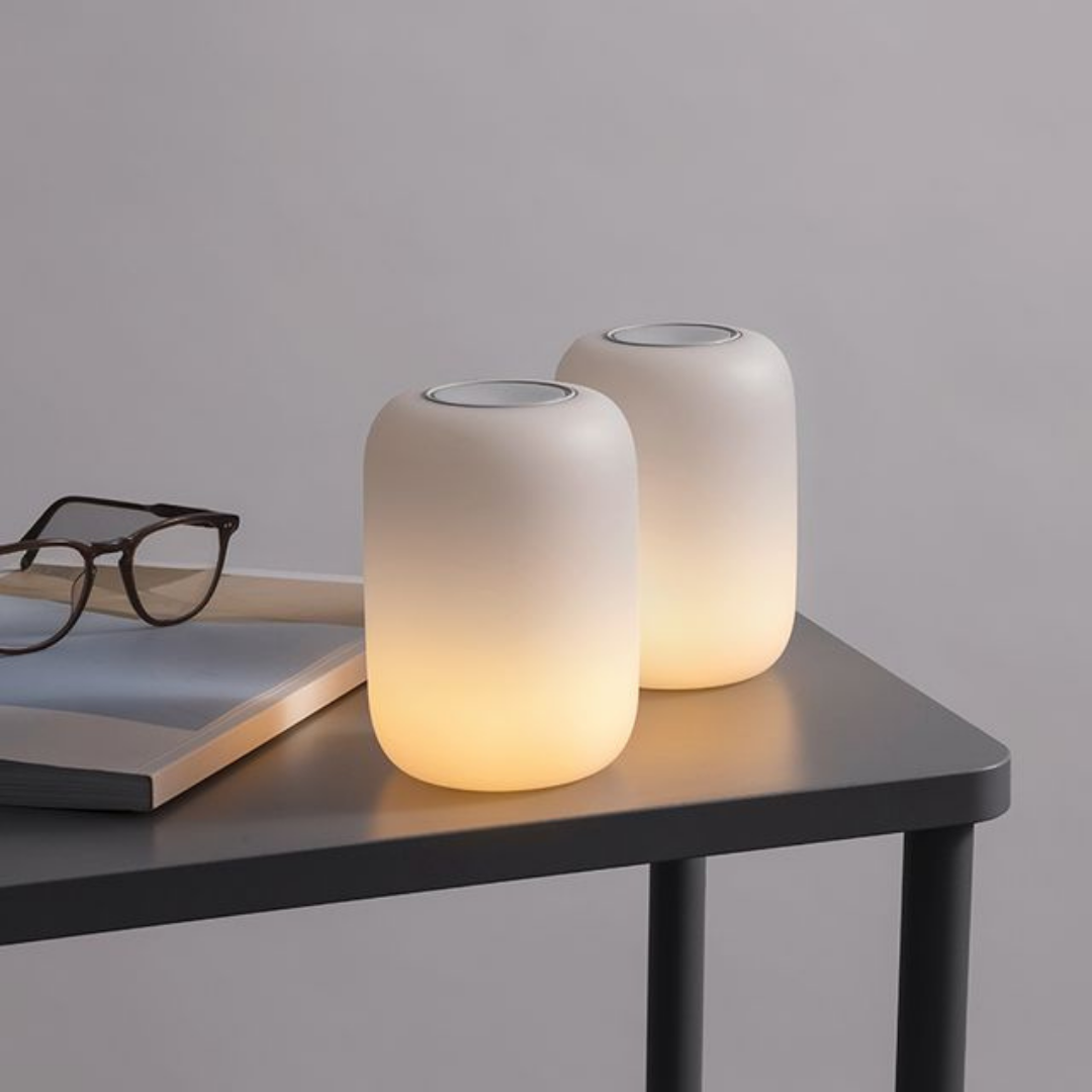Two white glow cylindrical glow lights from Casper