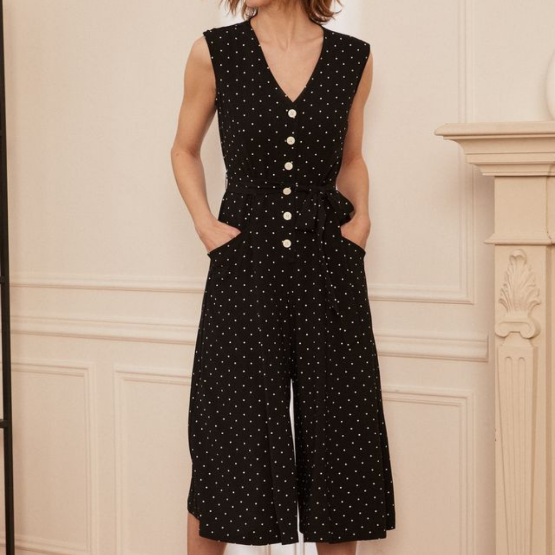 Black button down 3/4 length jumpsuit from Laura Petite