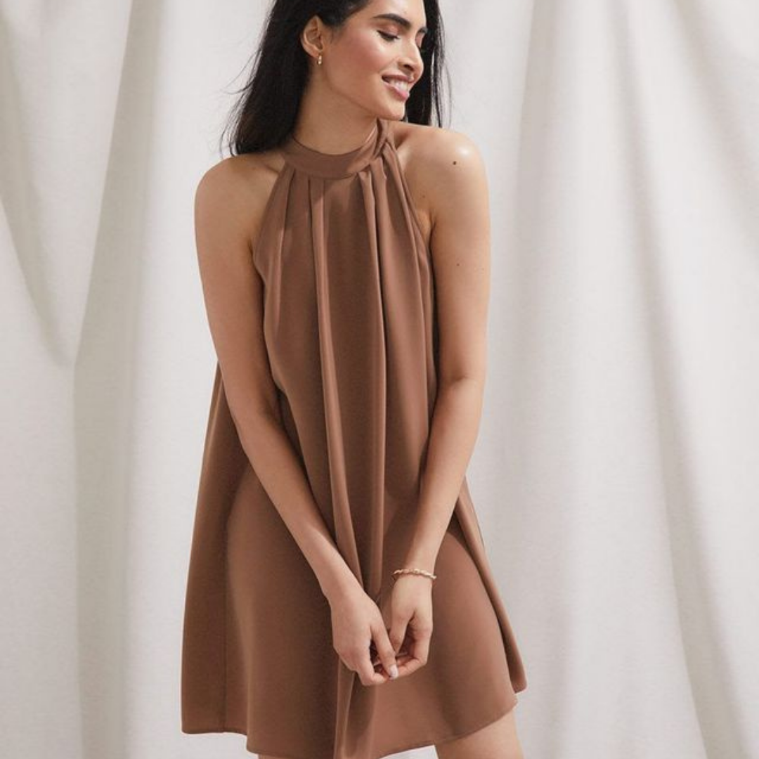 Brown Short Halter Dress from RW & Co.