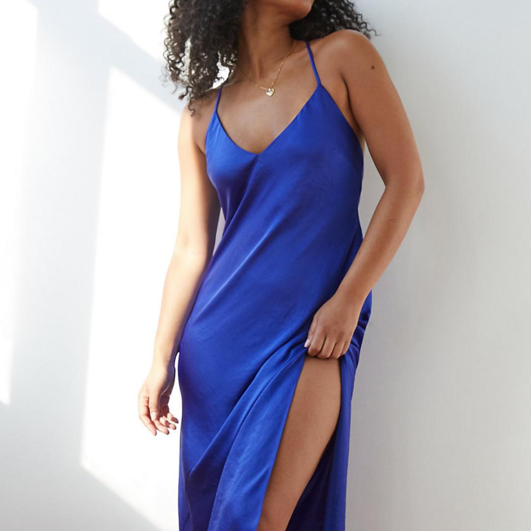 Blue Slit Dress from Aritzia