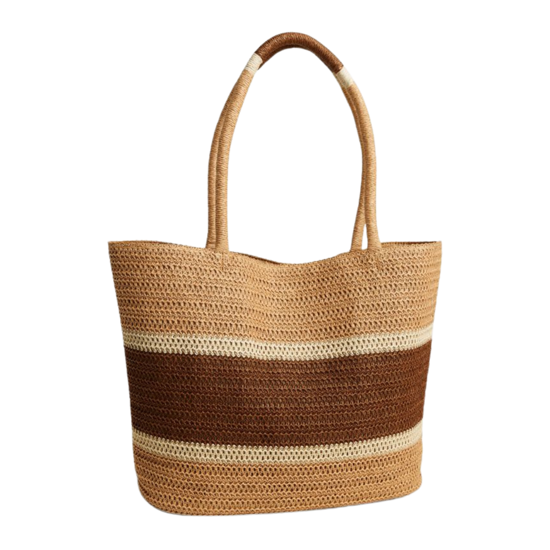 Straw Bag Two-Toned Neutral Colours from Gap