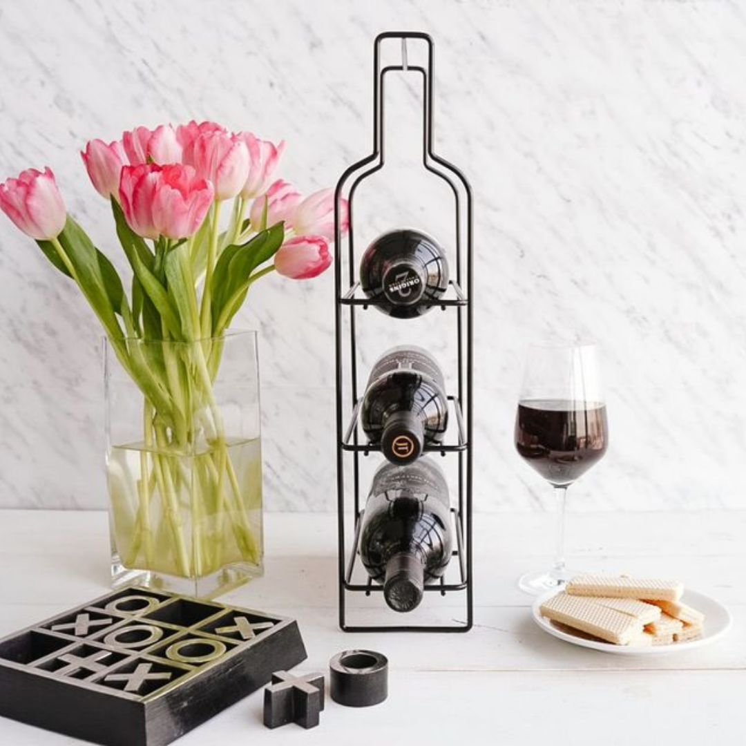 Three layered wine rack in a wine shape.