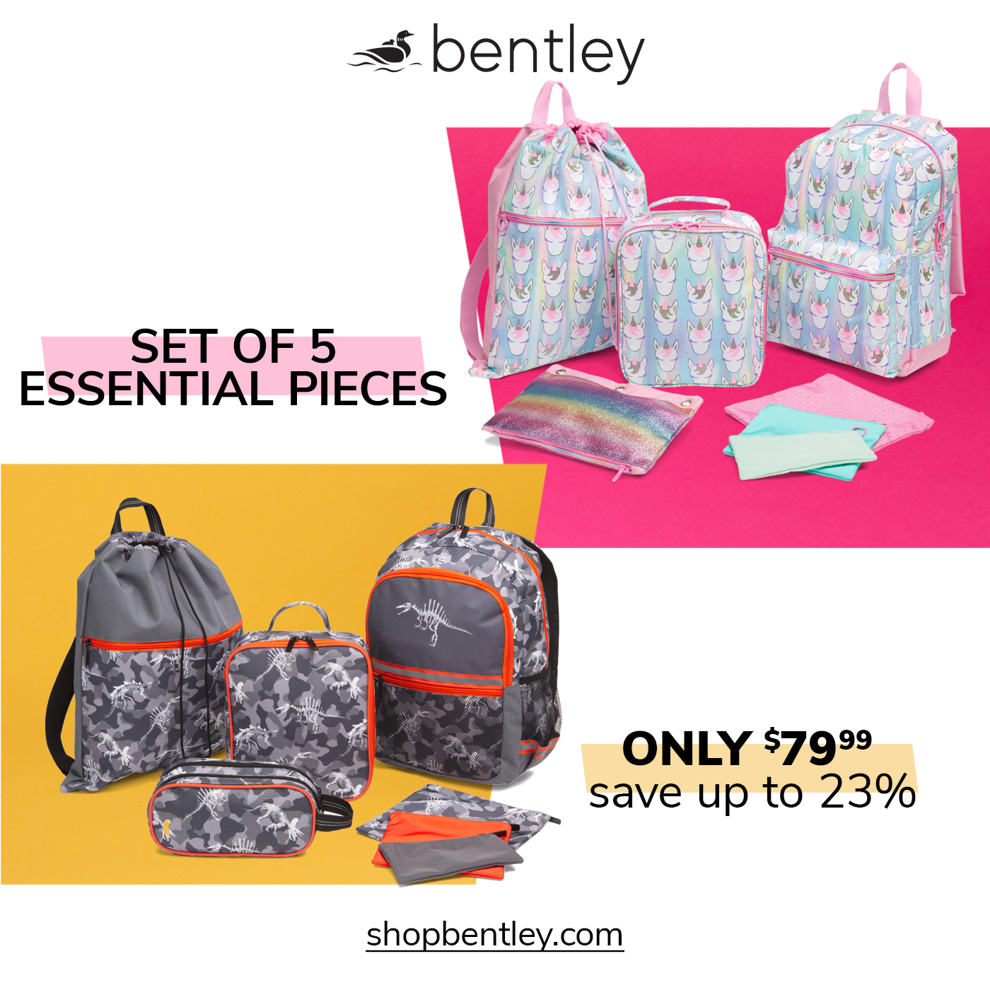 set of essential pieces, set of backpacks