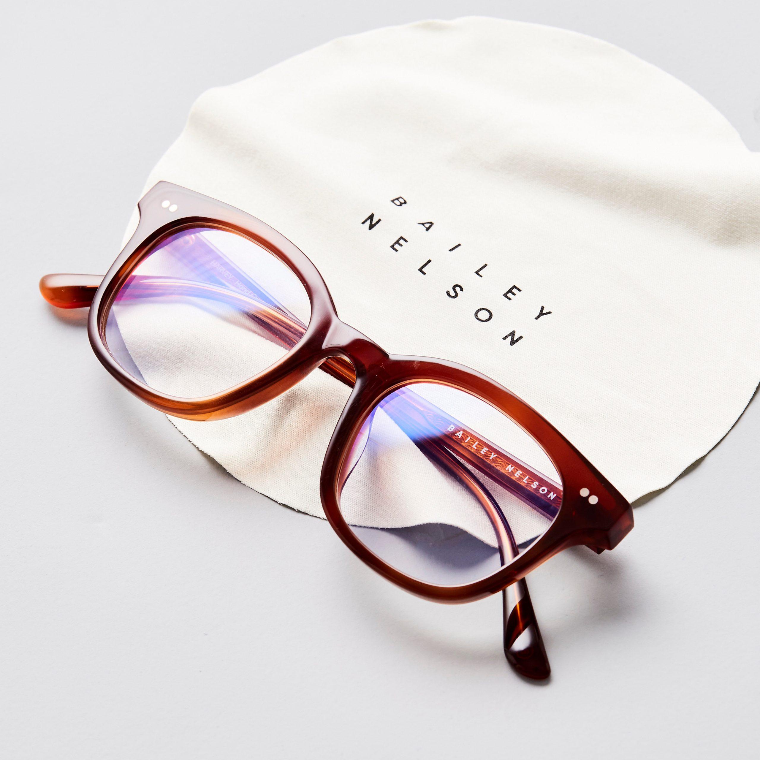 red framed bailey nelson glasses