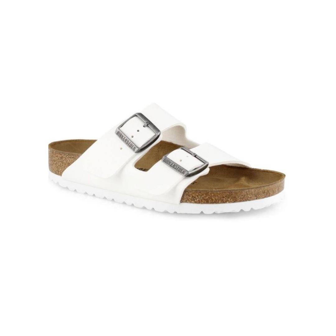 Flat white sandals from Birkenstocks
