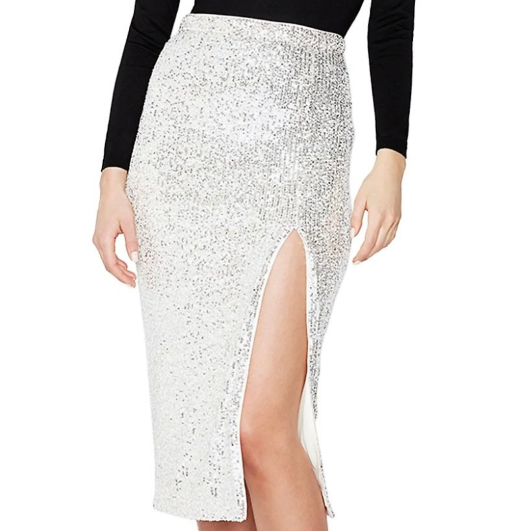 Sparkly silver metallic skirt from Hudson's Bay