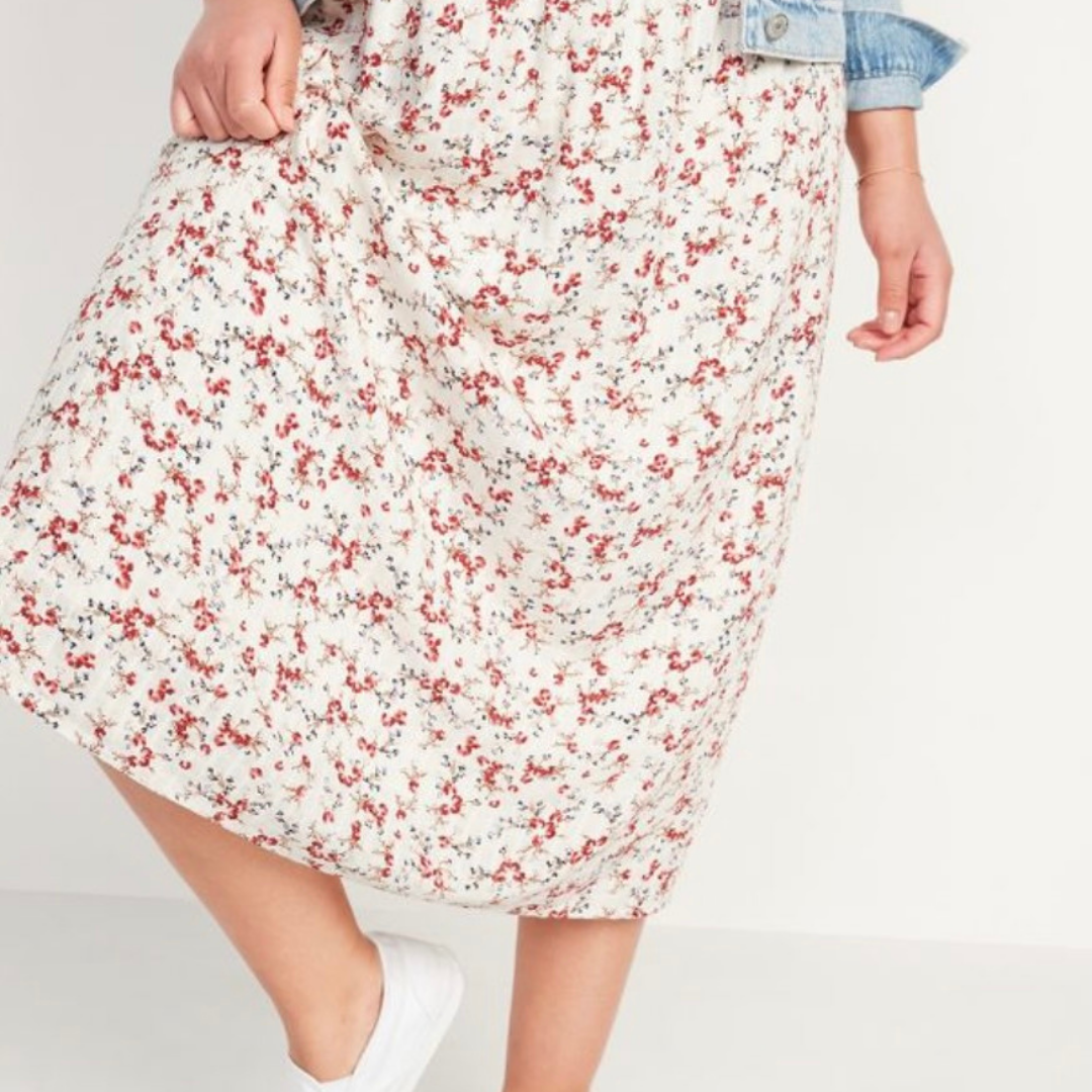 Light pink and white floral midi skirt from Old Navy
