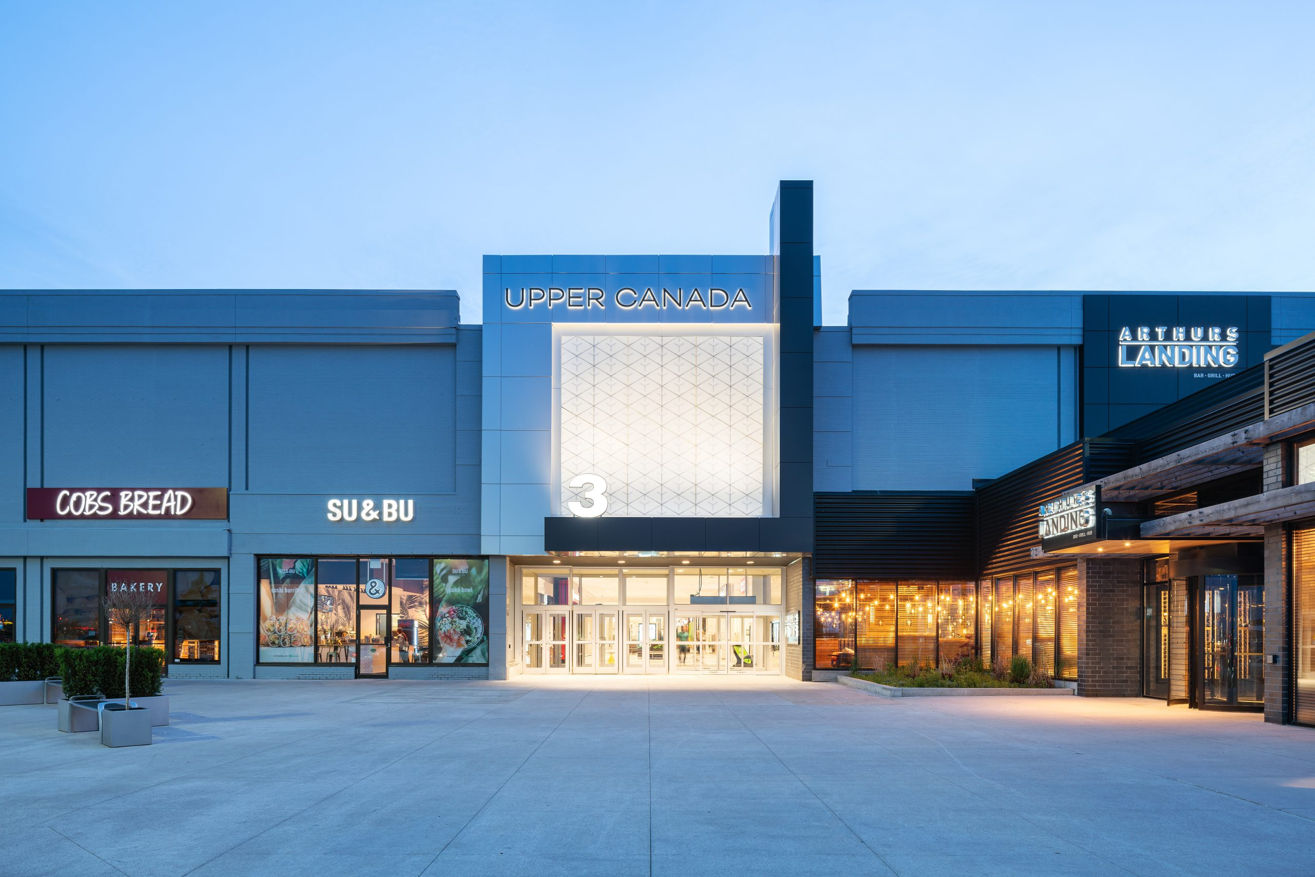 exterior upper canada mall entrance 3 in the evening