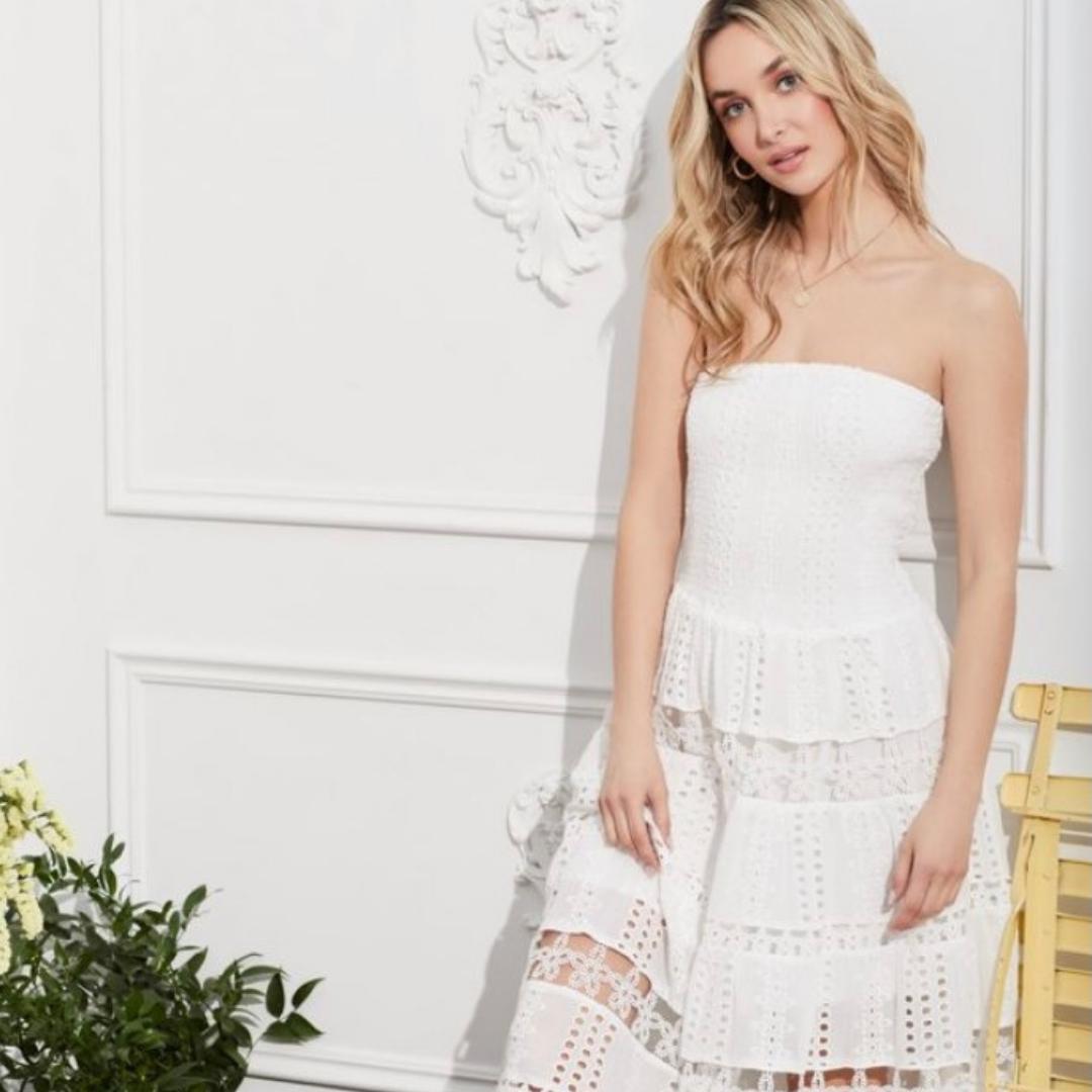 Boho strapless white dress from Honey