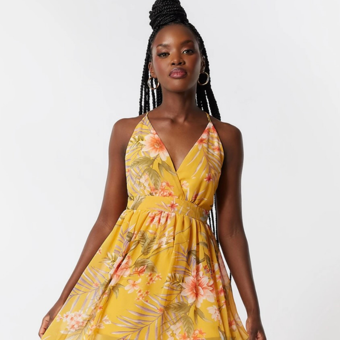 Yellow floral dress from Urban Planet