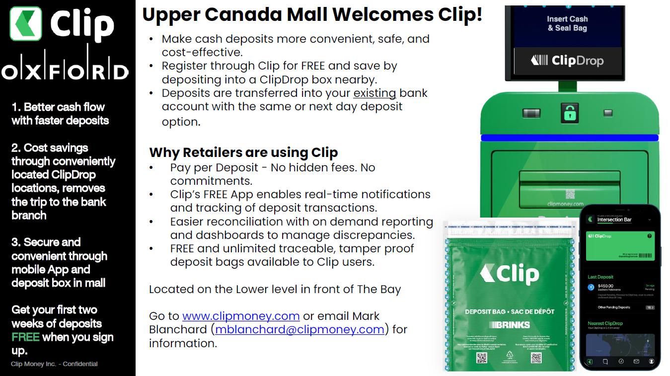 Upper canada clip money drop machine