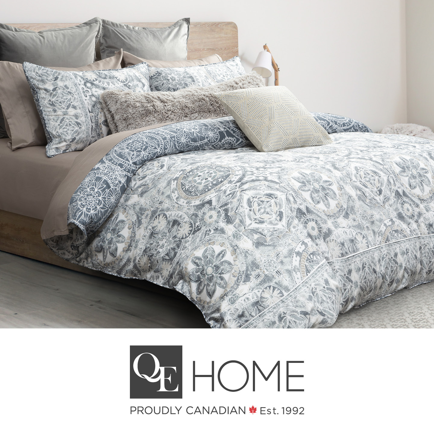 Sonesta bed with white and grey duvet