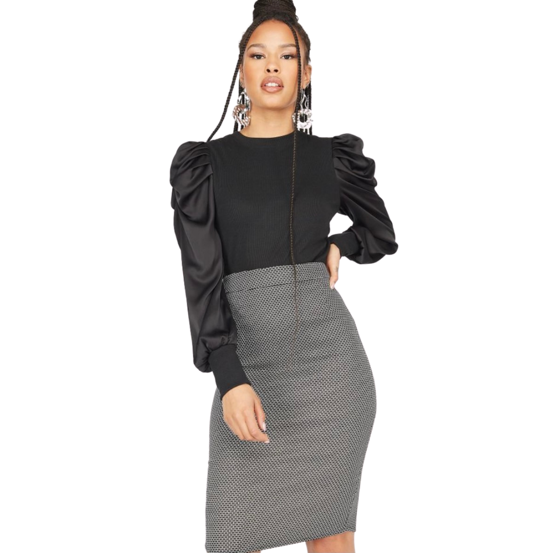 Grey pencil skirt from Urban Planet