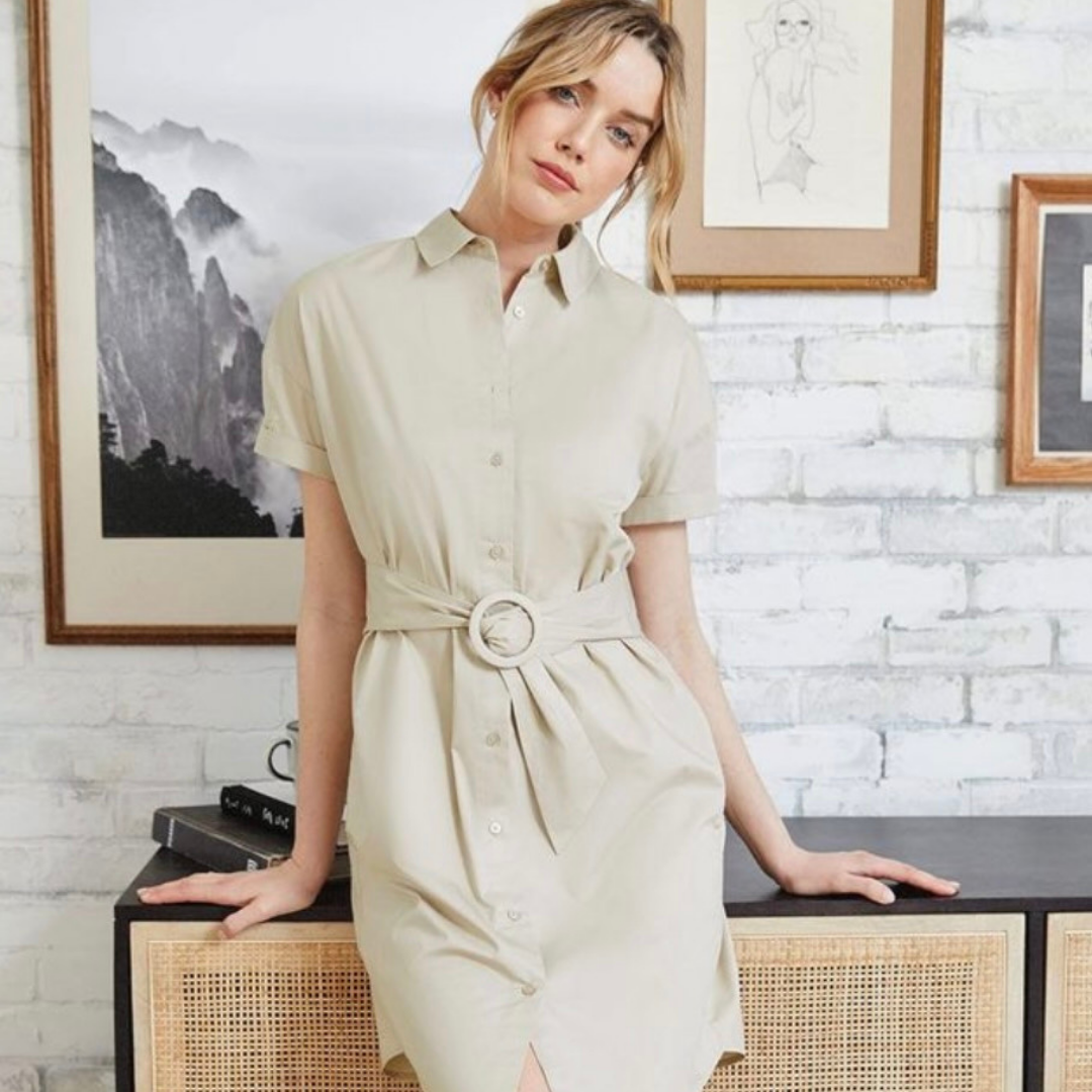 Cream knee-length dress with belt