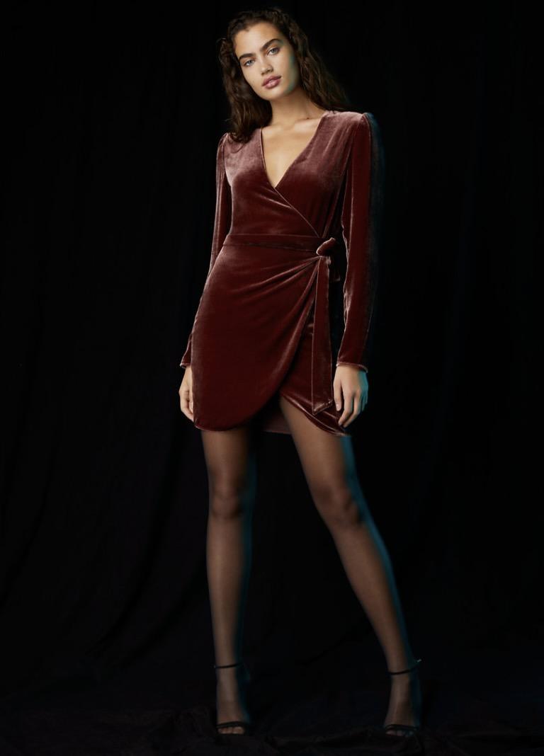 Maroon velvet dress from Aritzia