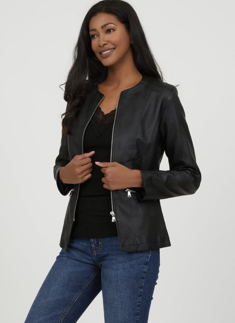 Black leather jacket from Suzy Shier