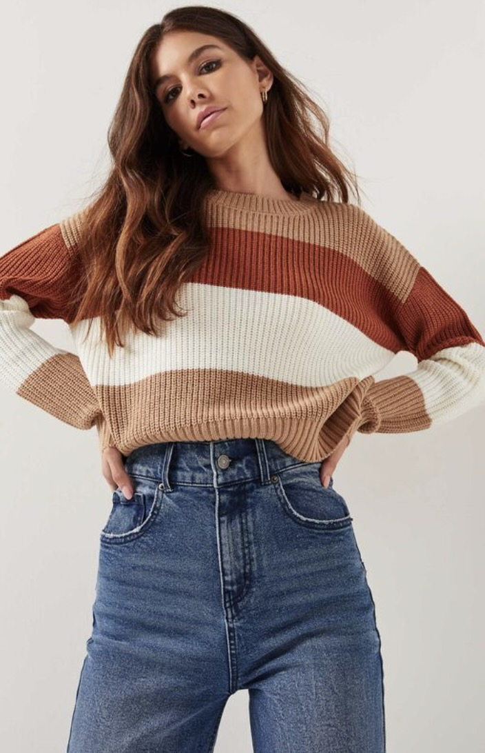 Red, beige and white striped knit sweater from Ardene