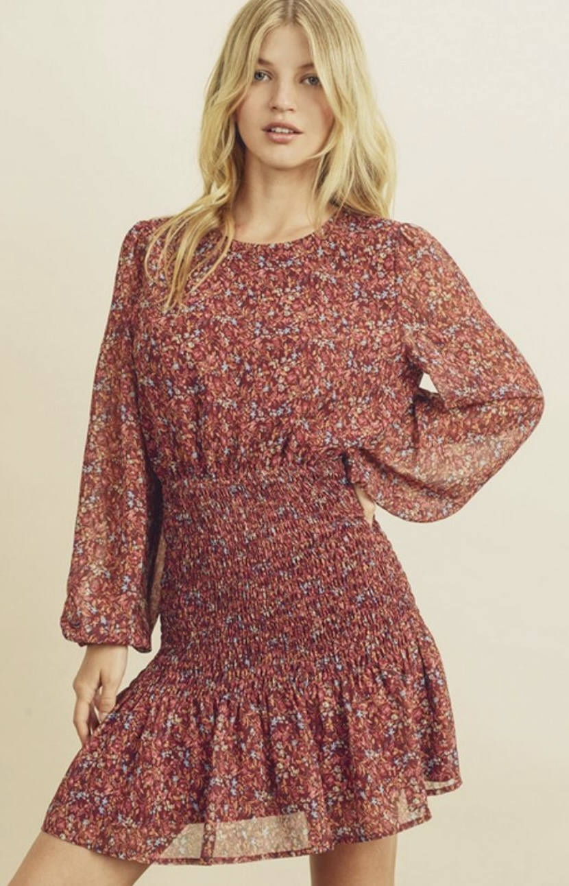 Foral print long sleeve dress from Honey