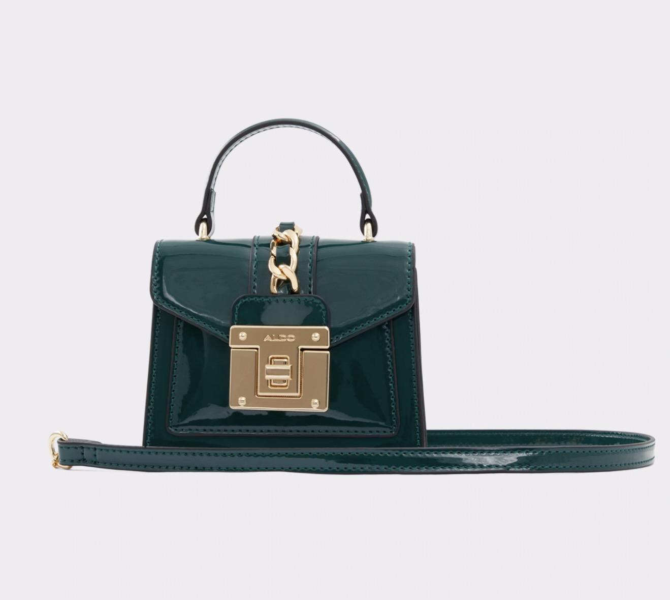 Dark green patent leather handbag from Aldo