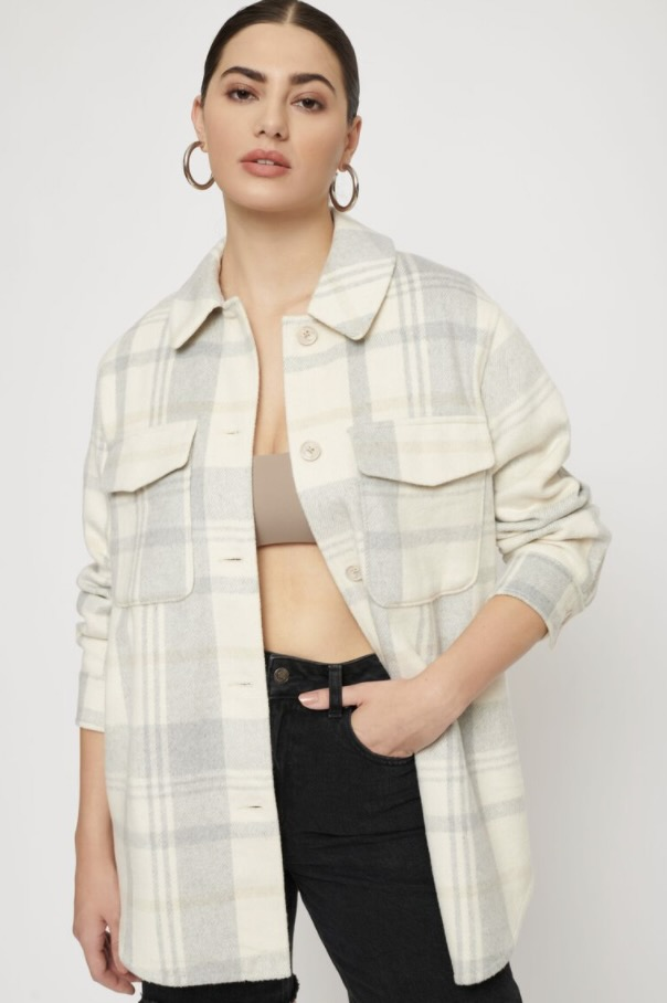 Off-white plaid shacket from Dynamite
