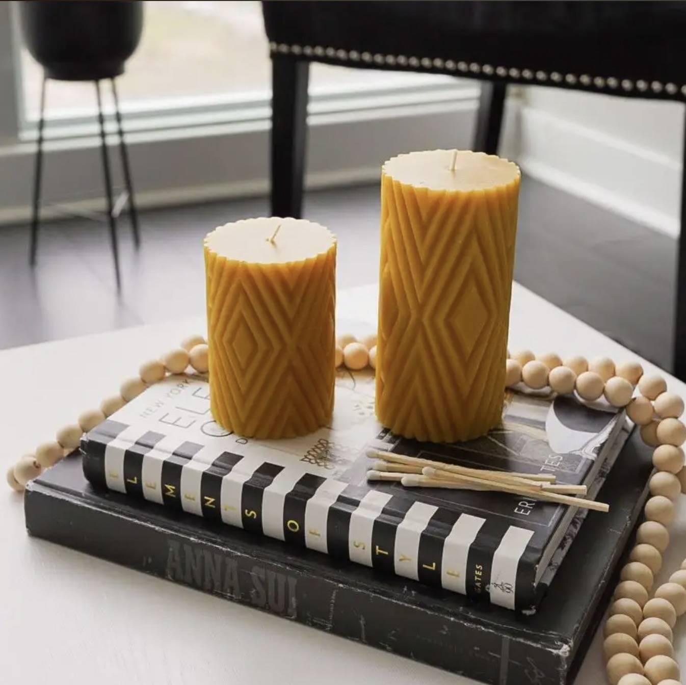 Mustard yellow candle from Linen Chest