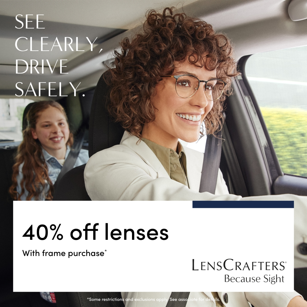 woman driving car with prescription glasses on
