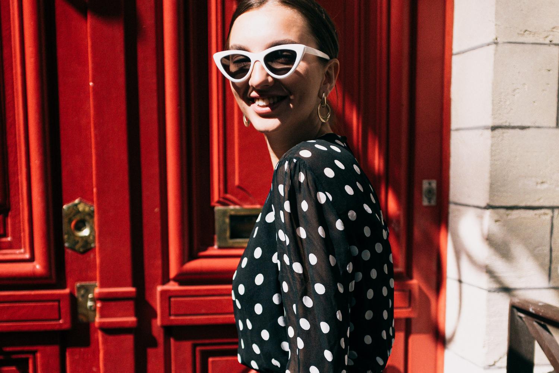 Girl in Polka Dress for Fall Capsule Dressing